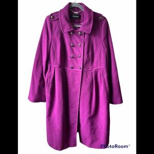 PLANET by Jacques Vert purple pleated pea coat 14